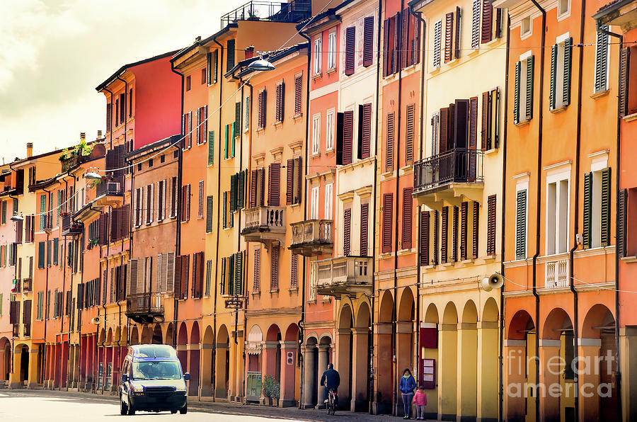 Aged Photograph - Bologna Window Balcony Texture Colorful Italy Buildings by Luca Lorenzelli
