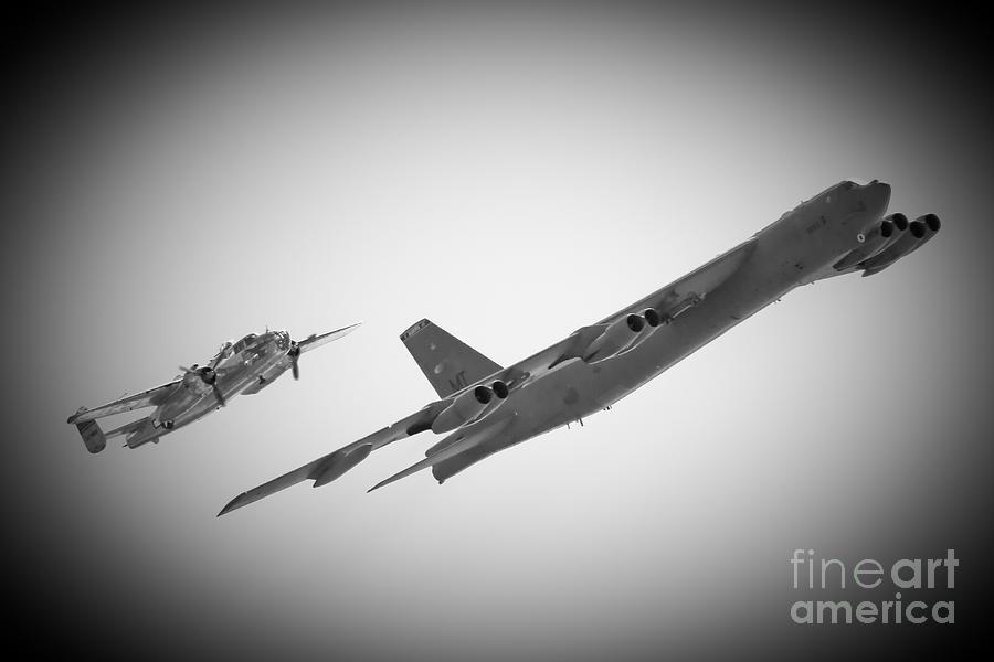 B-52 Photograph - Bomber Pair by Bob Mintie