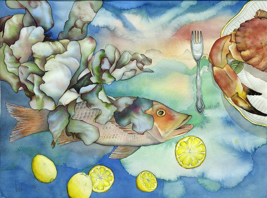 Sealife Painting - Bon Appetit Together Left Image by Liduine Bekman