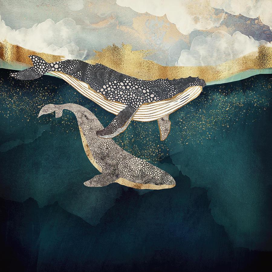 Whale Digital Art - Bond II by Spacefrog Designs