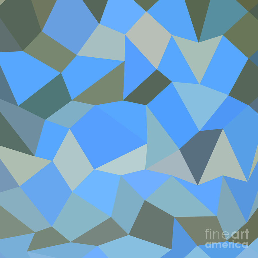 Abstract Digital Art - Bondi Blue Abstract Low Polygon Background by Aloysius Patrimonio