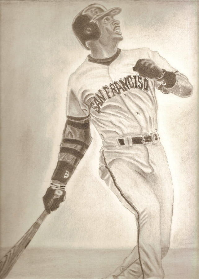 Bonds...................................barry Drawing by Miguel          A Rivera