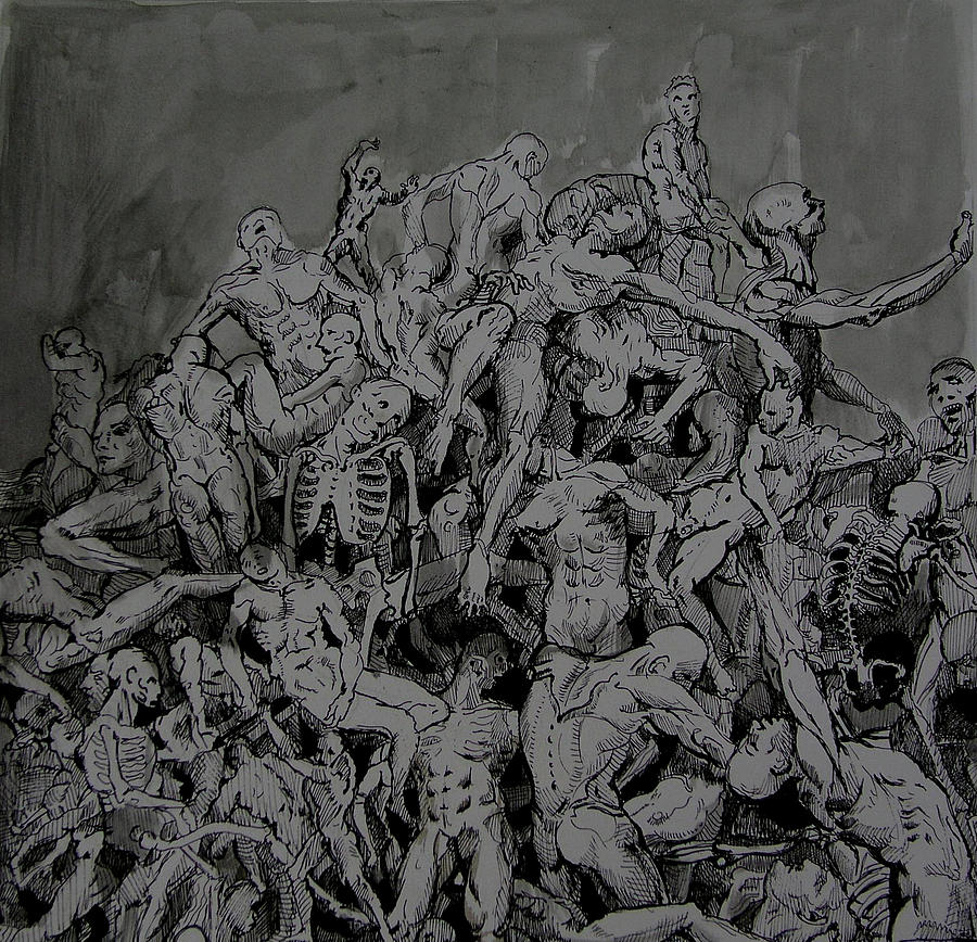 Bones Orgy Drawing by Kamalky Laureano