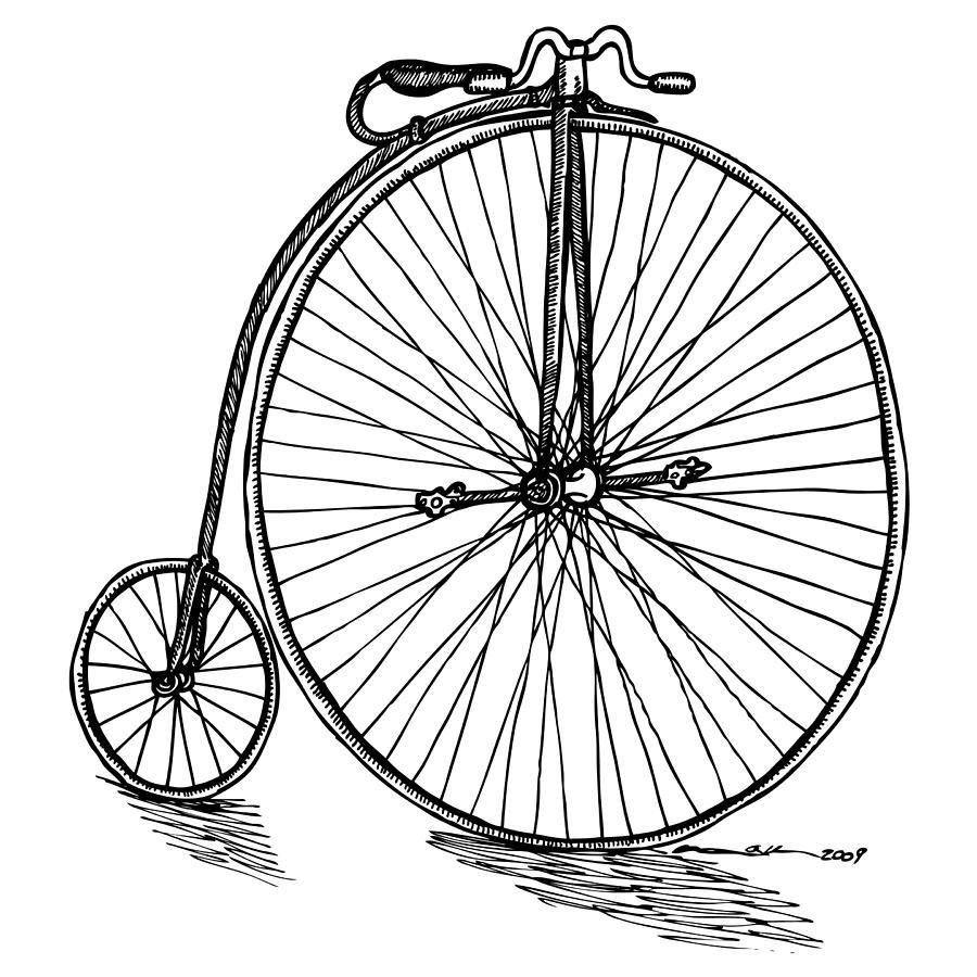 Drawing Drawing - Boneshaker Bicycle by Karl Addison