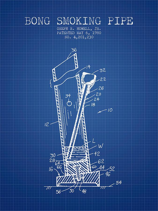 Bong Smoking Pipe Patent1980 Blueprint Digital Art By Aged Pixel