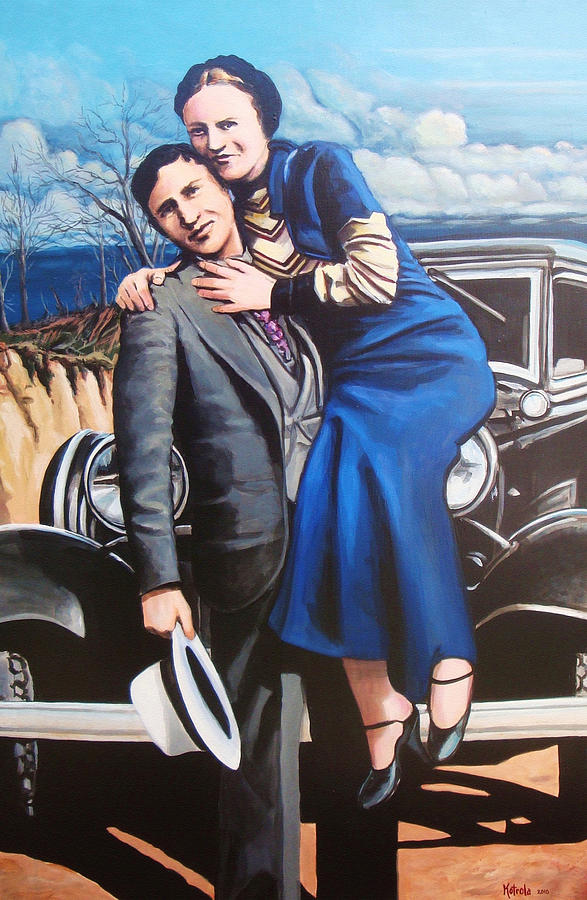 Bonnie And Clyde Painting By Robert Kotrola