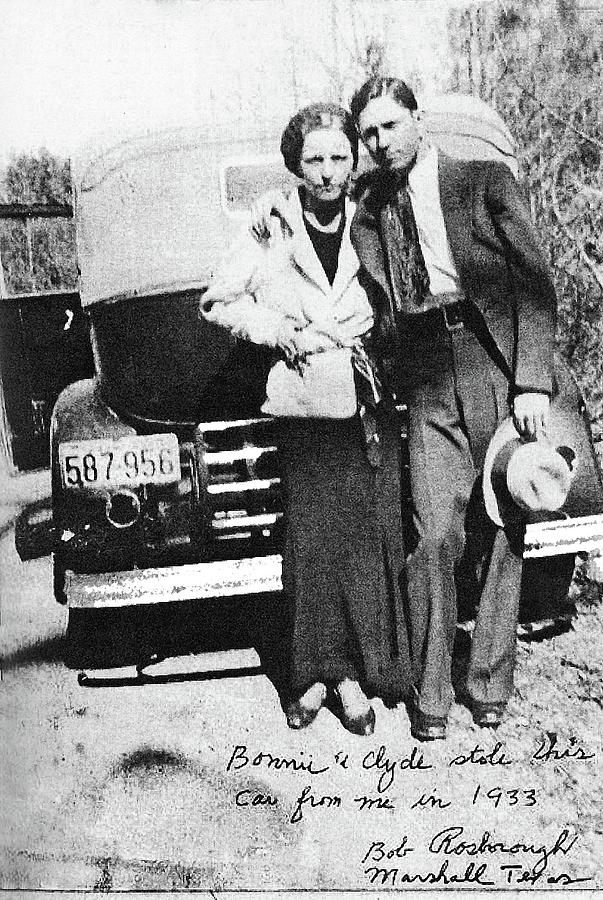 Bonnie And Clyde With A Car Clyde Stole 1933 Photograph by David Lee Guss
