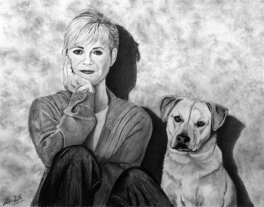 Pet Portrait Drawing - Bonnie Hunt And Charlie by Peter Piatt