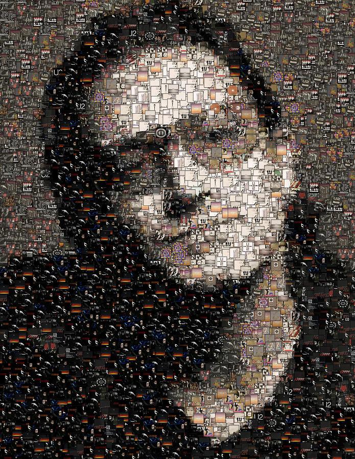 Rock Mixed Media - Bono U2 Albums Mosaic by Paul Van Scott