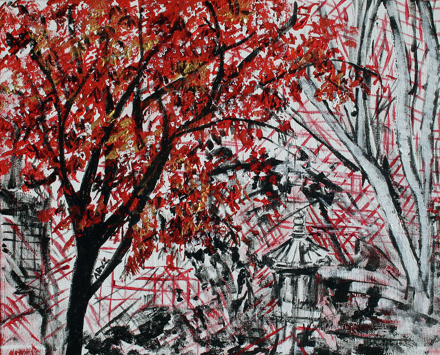 Red Tree Painting - Bonsai And Penjing Museum 2 201732 by Alyse Radenovic