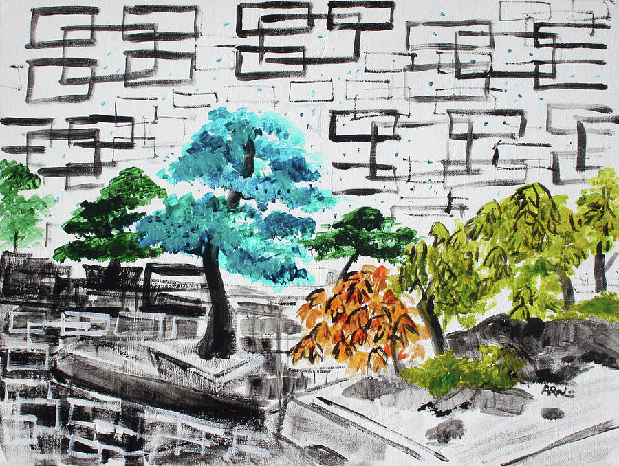 Bonsai Painting - Bonsai And Penjing Museum 3 201733 by Alyse Radenovic