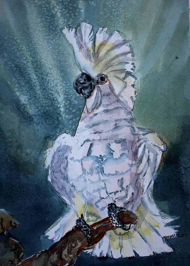 Umbrella Cockatoo Painting - Boo The Umbrella Cockatoo by Mindy Newman