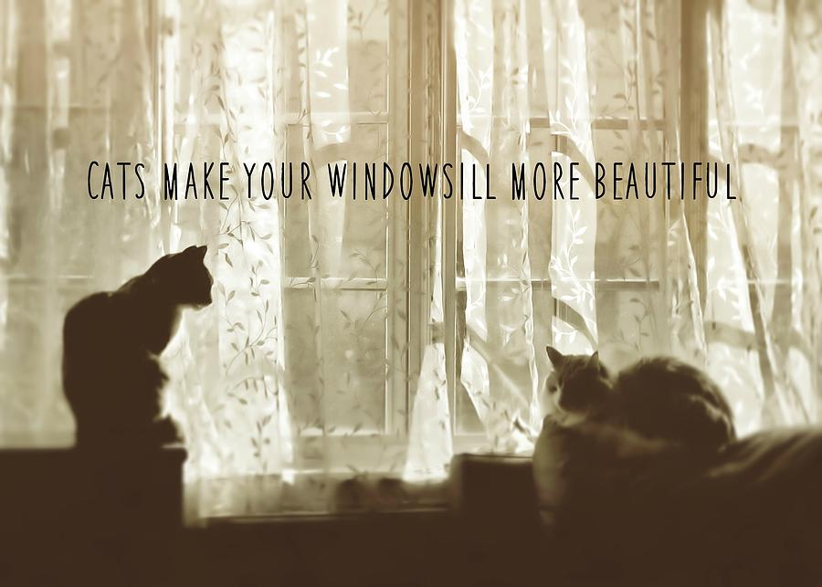 Cat Photograph - Bookends Quote by JAMART Photography