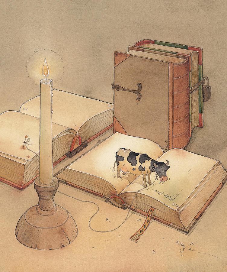 Bookish Cow Painting by Kestutis Kasparavicius