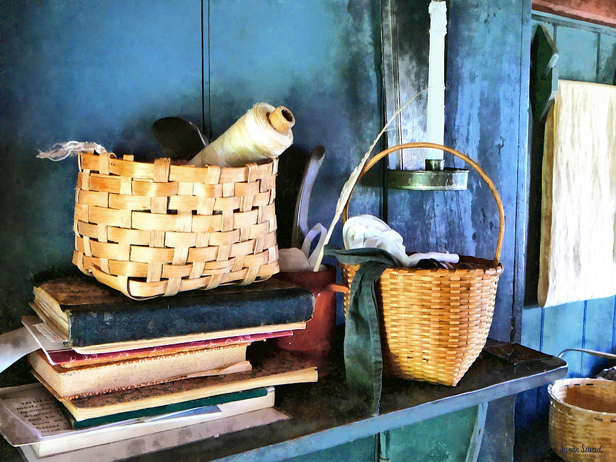 Americana Photograph - Books And Baskets by Susan Savad