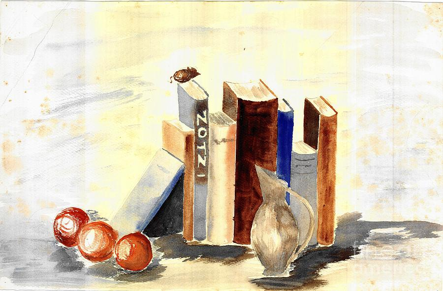 Books On The Desk - A Still Life Watercolor Painting by Eleanor Robinson