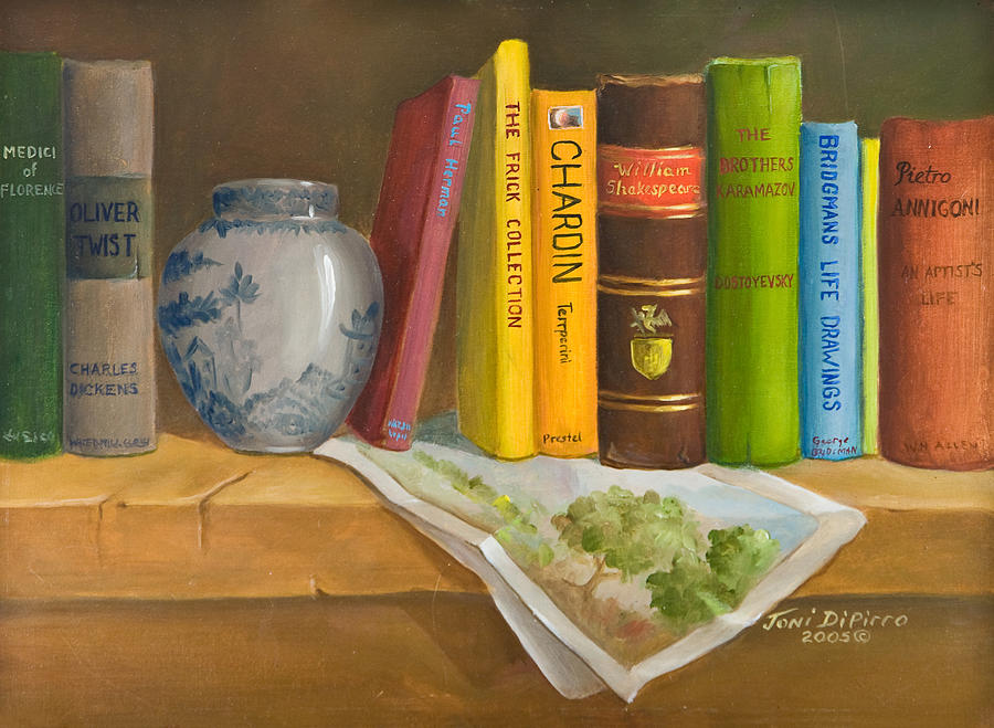 Bookshelf painting by joni dipirro for Shelf life of paint