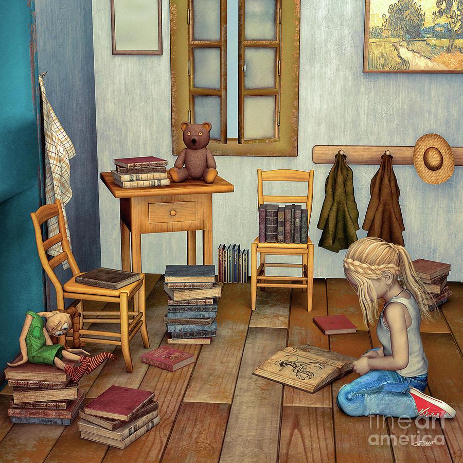 3d Digital Art - Bookworm by Jutta Maria Pusl
