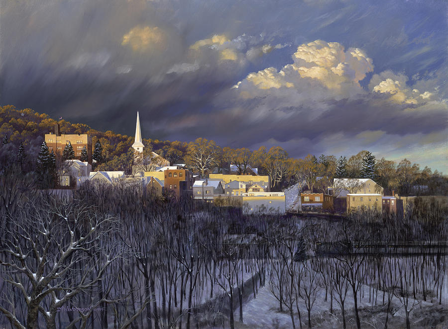 Winter Painting - Boonton In Winter by David Henderson