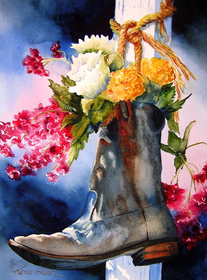 Boot Bouquet Painting By Karen Stark