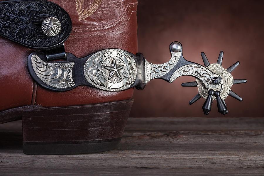 Texas Photograph - Boot Heel With Texas Spur by Tom Mc Nemar
