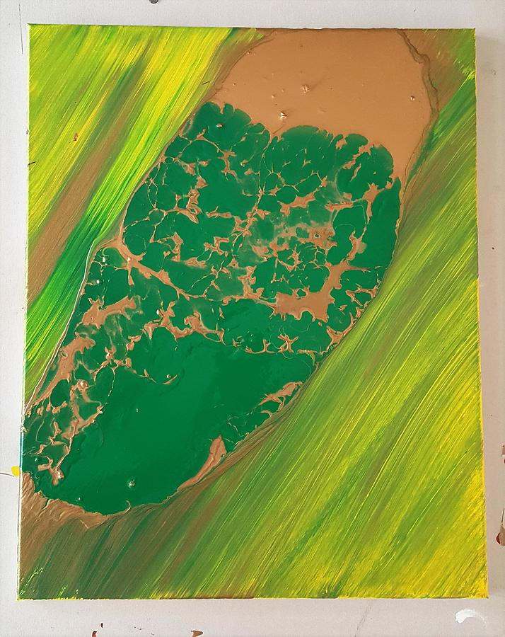 Green Painting - Boot top in a see of grass by Gyula Julian Lovas