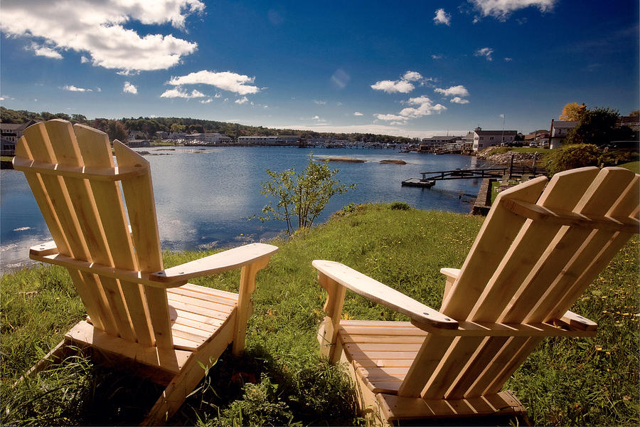 Adirondack Chair Photograph - Boothbay Harbor Maine by George Oze