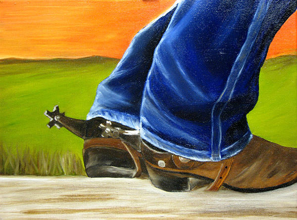 Portrait Painting - Boots and Spurs by Jessica Krogstadt