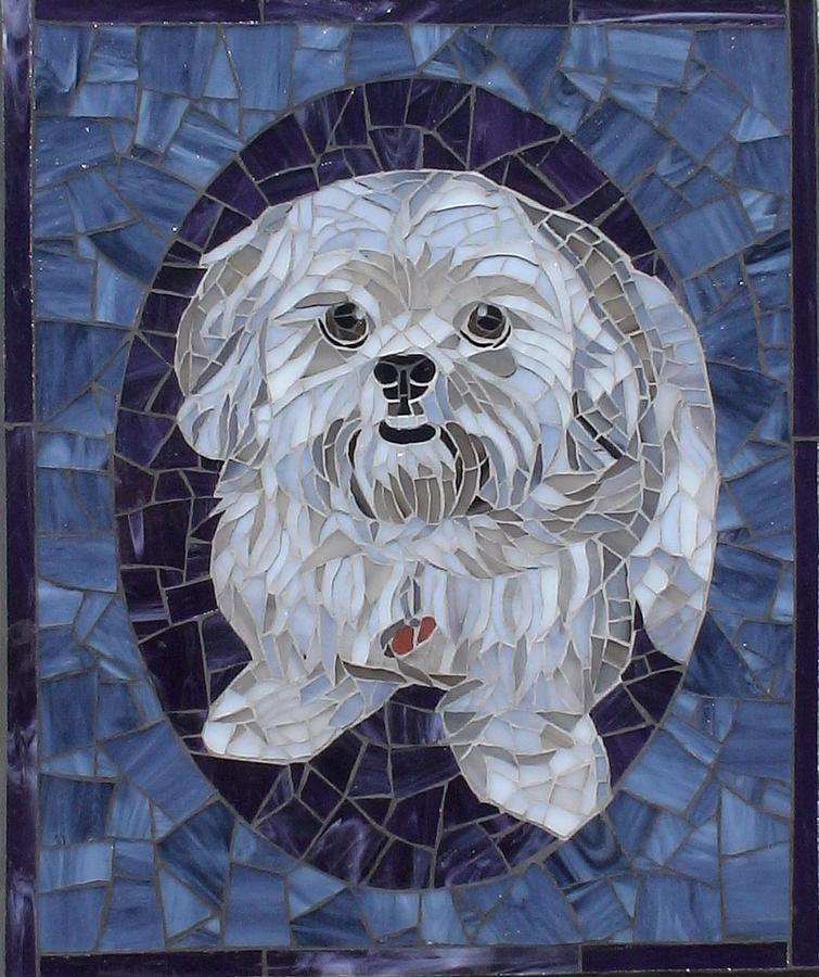 Dog Glass Art - Boots by Christine Brallier