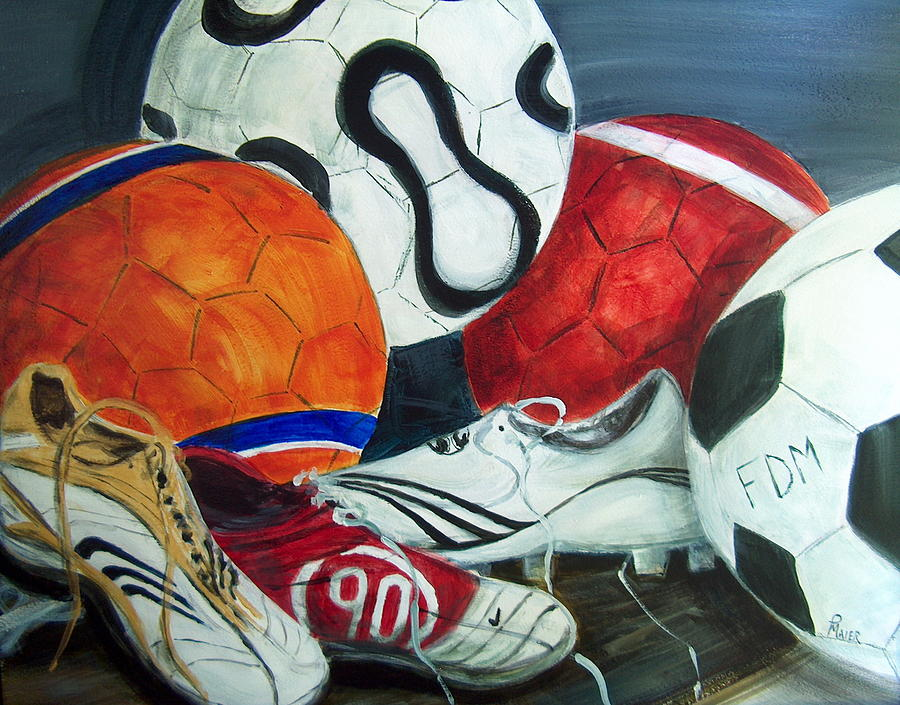 Soccer Painting - Boots N Balls by Pete Maier