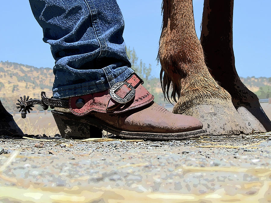 Boots, Spurs, Horse\u0027s Hooves Stylized by Terrance Emerson