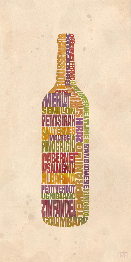 Wine Painting - Bordeaux Wine Word Bottle by Mitch Frey