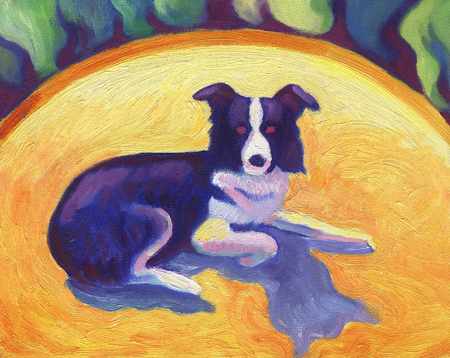 Ten Painting - Border Collie by Linda Ruiz-Lozito