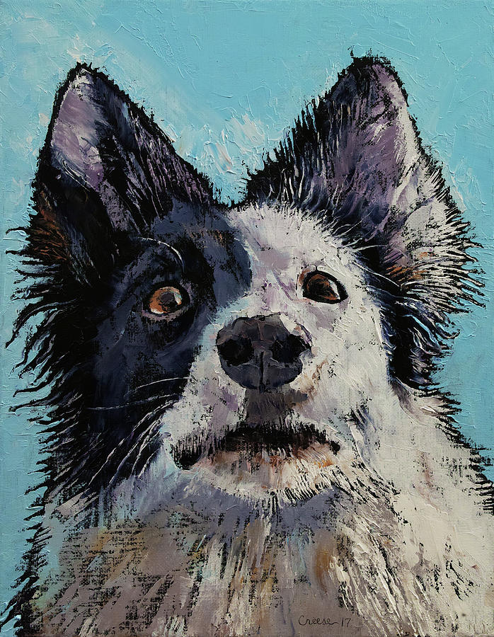 Dog Painting - Border Collie Portrait by Michael Creese