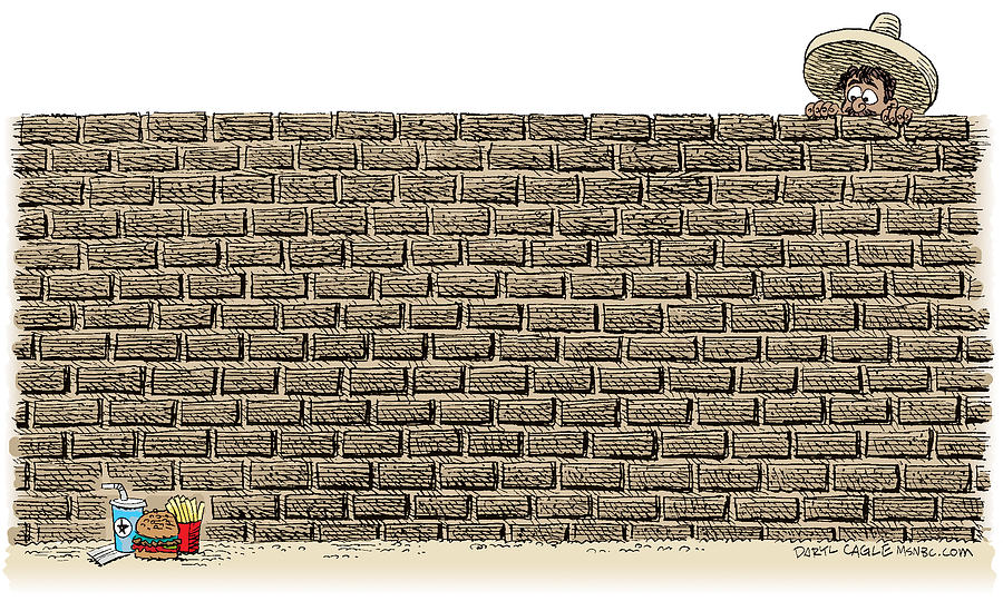 Mexico Drawing - Border Wall by Daryl Cagle
