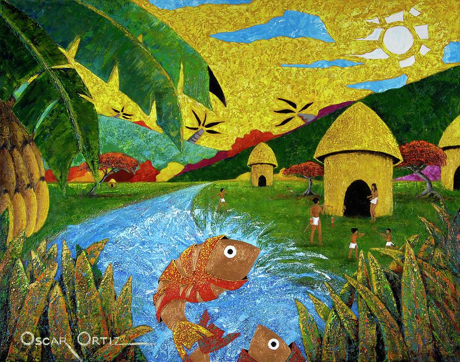 Tainos Painting - Boriken by Oscar Ortiz