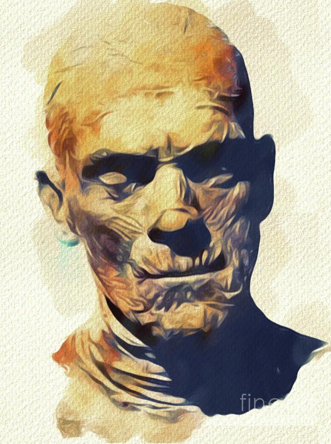 Boris Painting - Boris Karloff, The Mummy by Mary Bassett