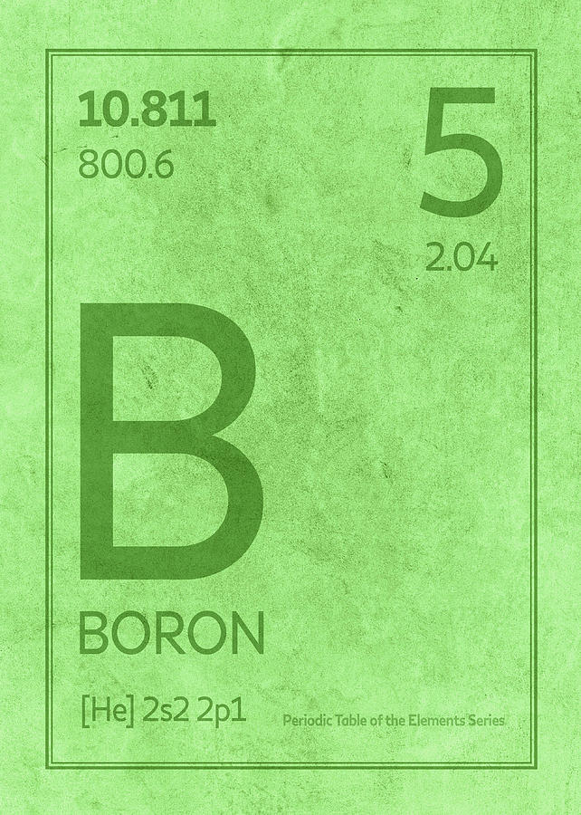 Boron Element Symbol Periodic Table Series 005 Mixed Media By Design