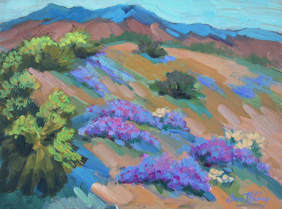 Desert Painting - Borrego Springs Verbena by Diane McClary