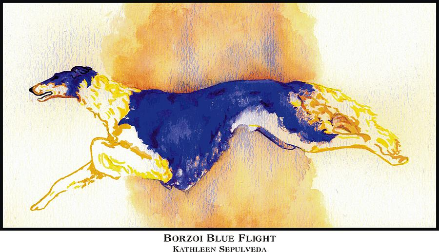 Borzoi Digital Art - Borzoi Blue Flight by Kathleen Sepulveda