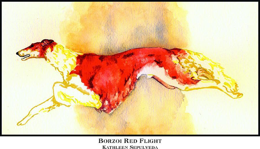 Borzoi Digital Art - Borzoi Red Flight by Kathleen Sepulveda