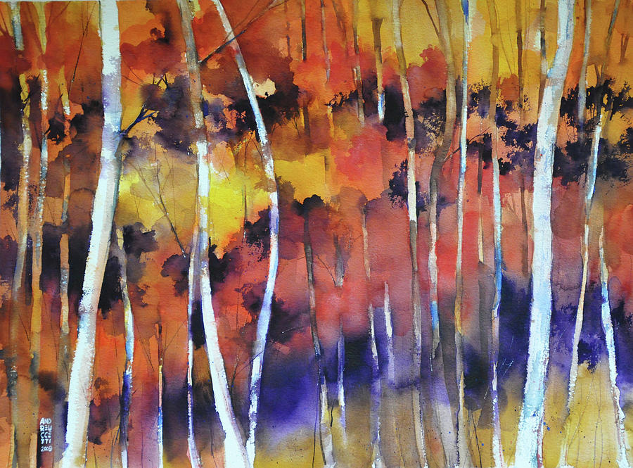 Woodland Painting - Bosco in autunno by Alessandro Andreuccetti