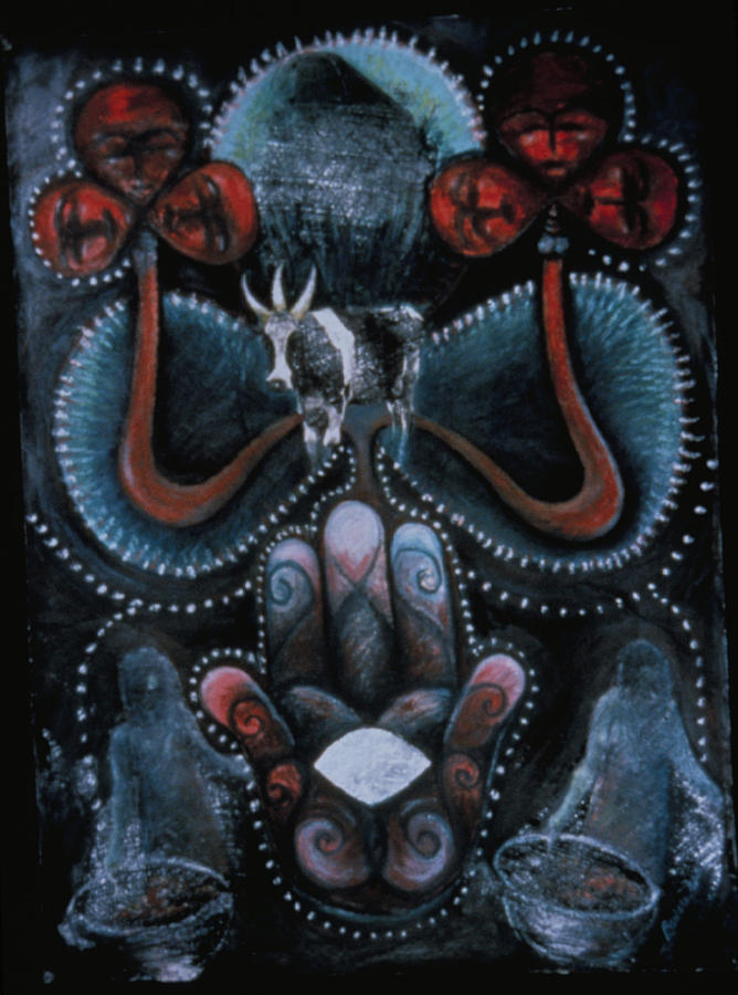 Haitian Painting - Bosou Twa Kon Mezuzah by Barbara Nesin