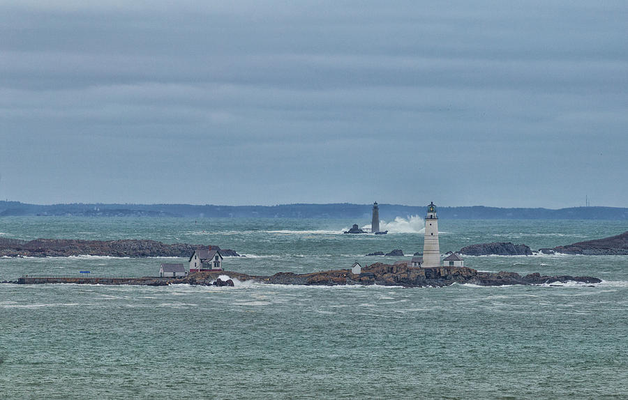 Boston and Graves Lighthouses Waves by Brian MacLean