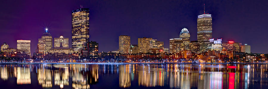 Boston Back Bay Skyline at Night 2017 Color Panorama 1 to 3 ratio by Jon Holiday