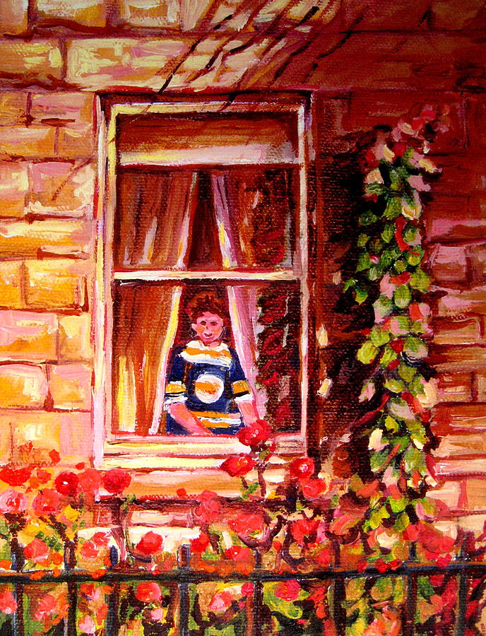 Boston Painting - Boston Bruin Fan by Carole Spandau