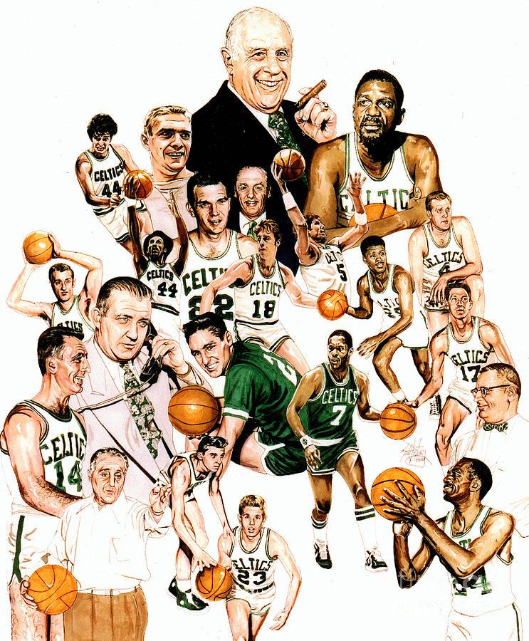 Boston Celtics Drawing - Boston Celtics Hall Of Famers by Neal Portnoy