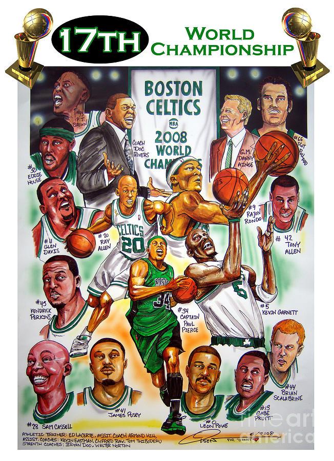 Nba Painting - Boston Celtics World Championship Newspaper Poster by Dave Olsen