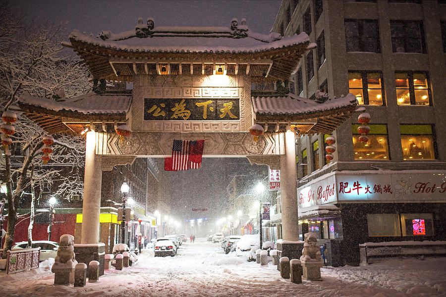 Boston Chinatown Gate During Snowsstorm Skylar Boston Ma Photograph By Toby Mcguire