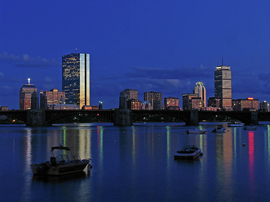 Boston Skyline Photograph - Boston City Lights by Juergen Roth
